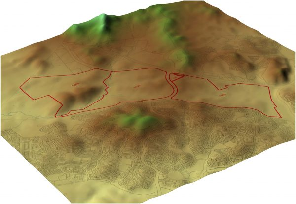 3D map showing topography of the Ginninderra site and the surrounding areas