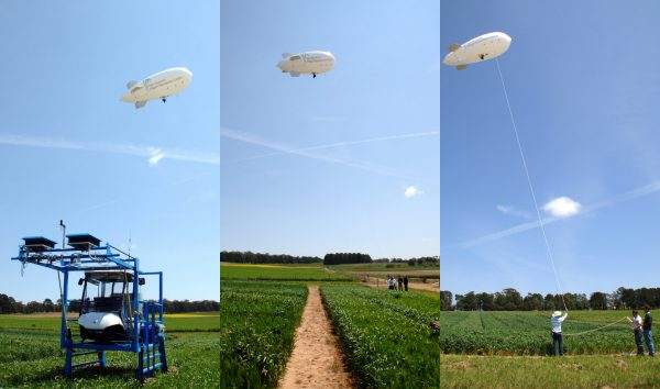 The blimp in action at Ginninderra. The Phenomobile is also pictured on the left.