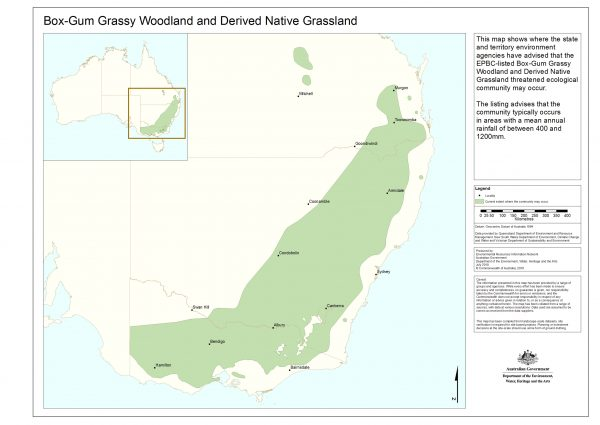 Distribution of Box-Gum Grassy Woodlands.