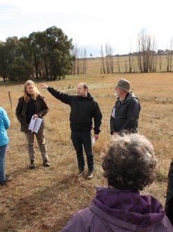 Rob Armstrong, Senior Ecologist with Umwelt, talks about an area where threatened species protection would apply during a site visit by members and experts from ACT environmental groups on 6 June 2016.