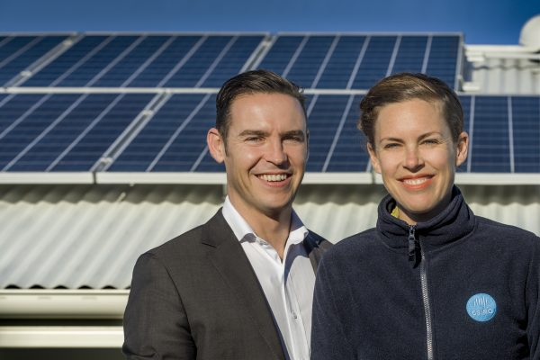 Evergen home storage featuring solar panels and Emlyn Keane, Operations Manager from Evergen, and Natalie Kikken from CSIRO